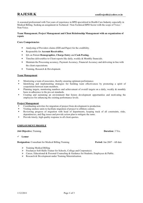Sle Resume For Bpo Non Voice Experience rajesh resume bpo jan 2011