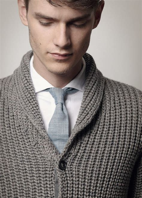 Tie Neck Collar Sweater spread shirt collar tie grey cardigan roberto collina