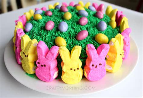 easy marshmallow peeps easter cake crafty morning