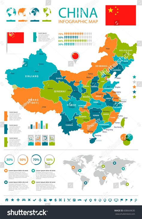 china map vector china map flag highly detailed vector stock vector