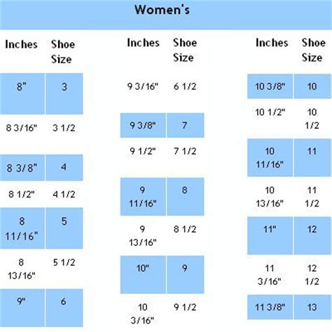 inches to shoe size womens shoe size chart in inches crochet