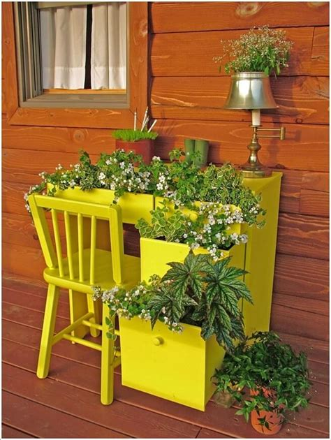Recycled Planter Ideas by Cool And Creative Recycled Furniture Planter Ideas