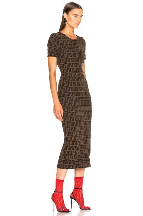 Fendi Dress lyst fendi logo print midi dress