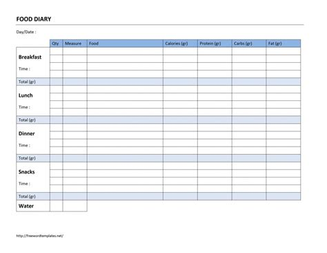 food log template food diary log