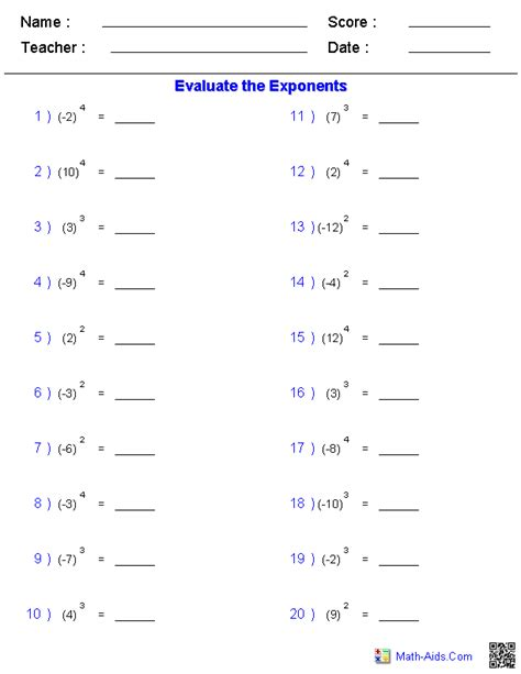 integers with simple exponent worksheets math