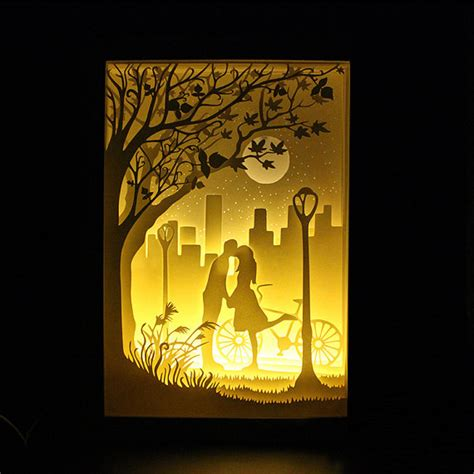 Silhouette Love Moon Paper Cut Light Box Night Light By Trysogodar Denenecek Projeler Papercut Lightbox Template