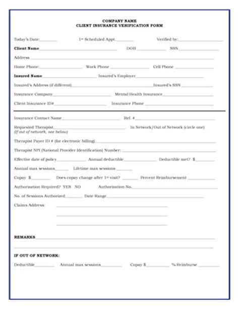 Insurance Eligibility Verification Letter Insurance Verification Form