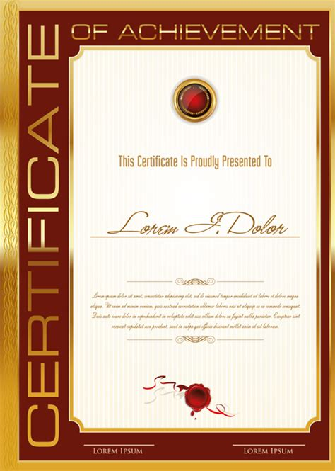 golden frame certificate template vector 01 welovesolo