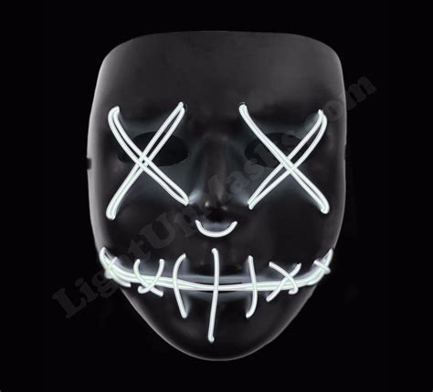 light mask light up mask quot stitched quot white led 2018