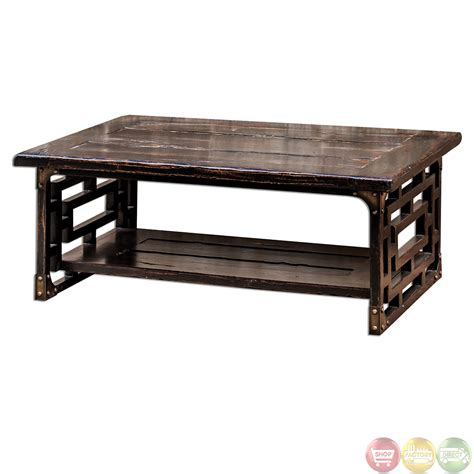 Antique Wooden Coffee Tables Deron Antique Finish Solid Wood Coffee Table 25600
