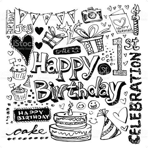 imagenes en blanco y negro de feliz cumpleaños feliz cumplea 241 os doodle dibujo illustracion libre de