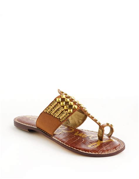 sam edelman gold sandals sam edelman gideon leather beaded sandals in gold cognac