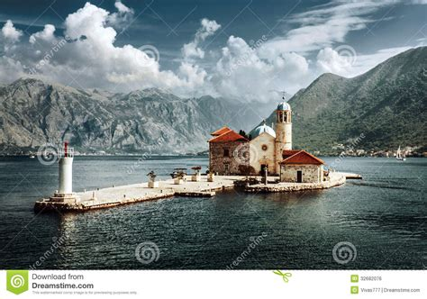 Mediteranean House Plans Montenegro Our Lady Of The Rocks Perast Royalty Free