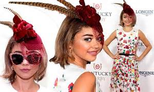 Sarah hyland tries to steal the spotlight at kentucky derby wearing