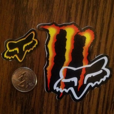 Monster Energy Yellow Sticker by Free Red Orange Yellow Monster Energy Sticker W Fox