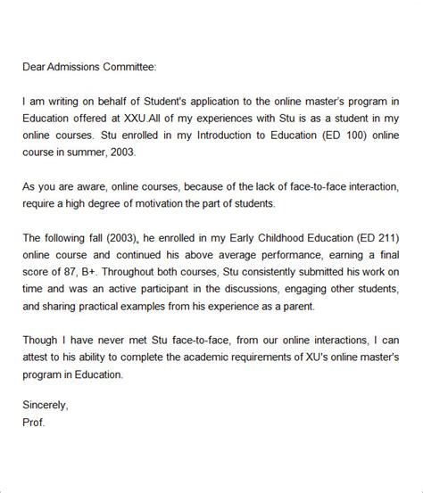 letters of recommendation for graduate school 15 free documents in pdf word