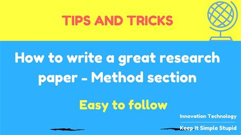 how to write a great research paper how to write a great research paper method section