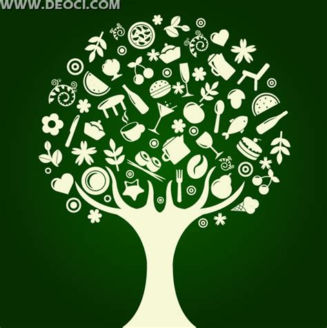 Vector abstract tree food tableware design AI file format