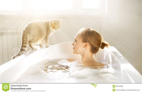 relaxing bathtub an attractive girl relaxing in bath stock image image