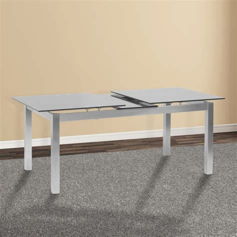 Living Ivan Extension Dining Table In Brushed Stainless Stainless Steel Glass Top Dining Table