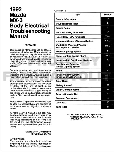 1992 mazda mx 3 body electrical troubleshooting manual original