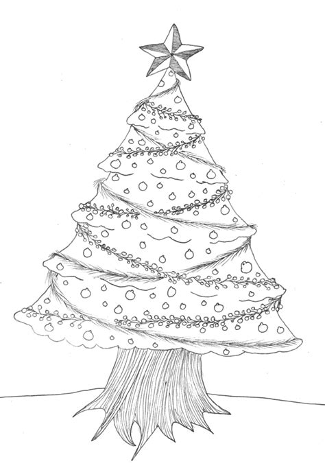 christmas tree sketch pencil drawing christmas lights