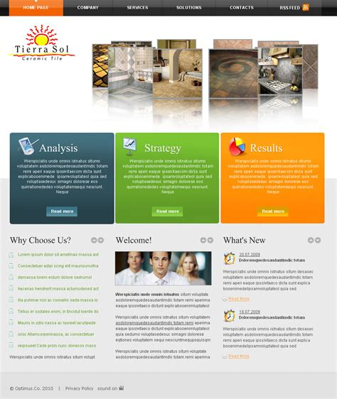 design html home page web page design contests 187 tierra sol ceramic tile web