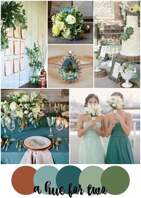 Teal, Sage, Green, Copper Rustic Wedding Color Scheme