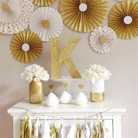white and gold decorations backdrop mint and gold paper fan backdrop set
