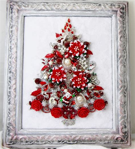 keepsake vtg framed rhinestone jewelry christmas tree red