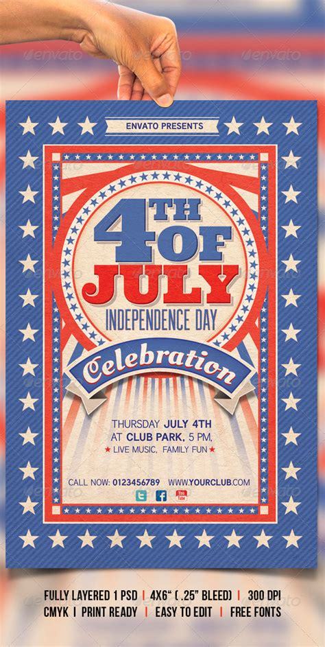 4th Of July By Creativeartx Graphicriver Free Patriotic Flyer Template