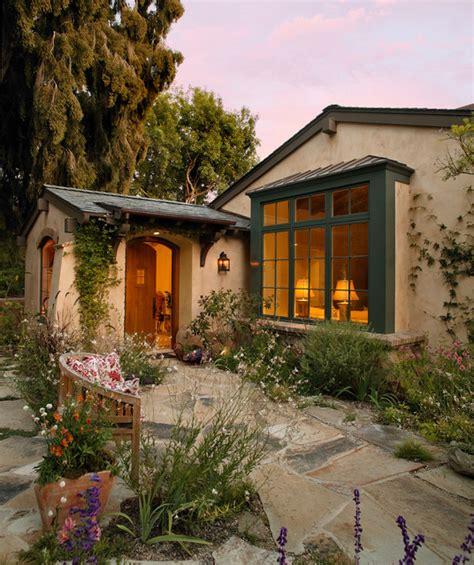Tan Bar Stools by Garden Cottage Mediterranean Exterior Santa Barbara