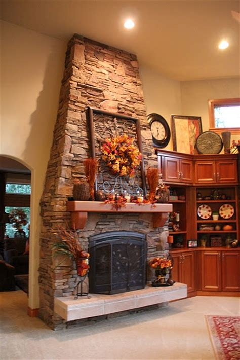 fall wreath above fireplace fall