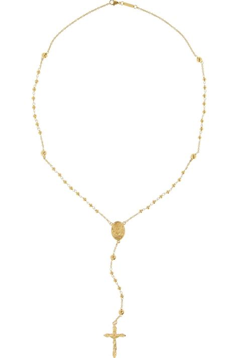rosary necklace beaded gold tone rosary necklace