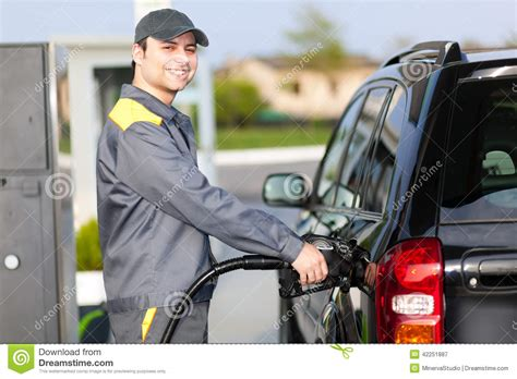 smiling at work at a gas station stock image image 42251887
