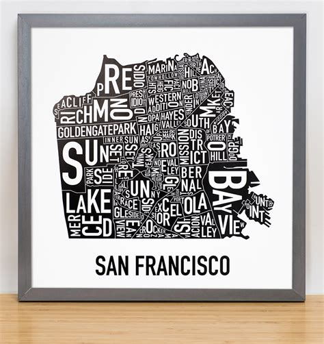 san francisco neighborhood map poster san francisco neighborhood map 12 5 quot x 12 5 quot classic black