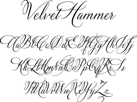 tattoo you font velvet hammer is a classical calligraphy font designed by