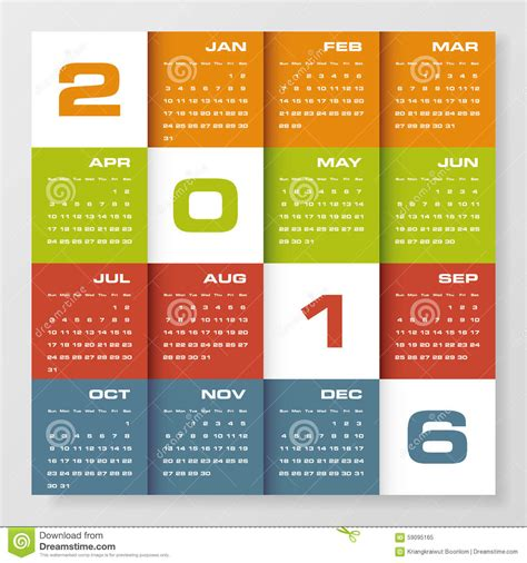 simple design calendar 2016 year vector design template