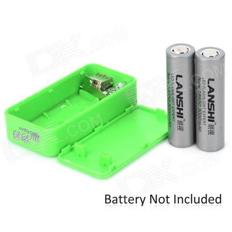 Baterai Holder 18650 X 2 stylish 2 x 18650 battery holder external power charger w 1 led flashlight green free