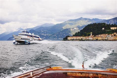 hydrofoil boat lake como bellagio town from lake como speed boat showing hydrofoil