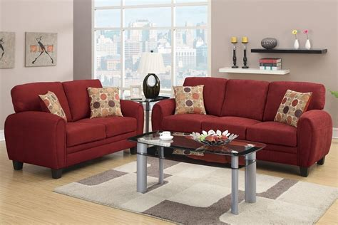 Daisy Sofa Loveseat Burgundy Linen Sofa Set Pillows