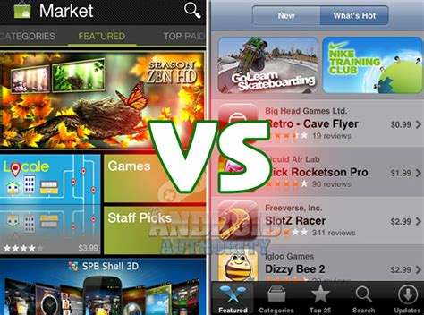itunes store for android android market vs apple itunes app store android authority