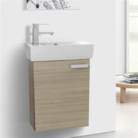 space saving bathroom vanity 19 inch space saving larch canapa bathroom vanity with ceramic sink wall mounted acf c136 thebathoutlet