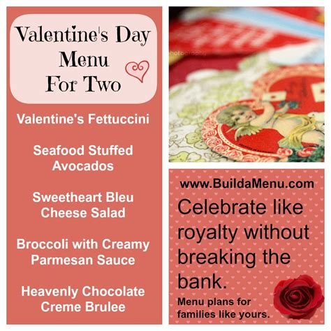 valentines day menu build a menu 187 archive s day menu for two