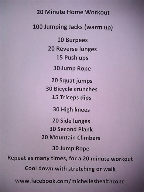 20 minute home workout fitness fitness