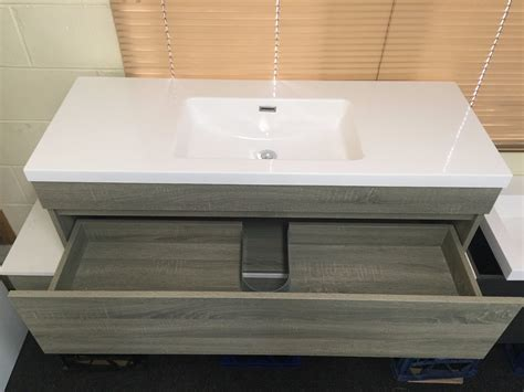 Grey Wood Bathroom Vanity by Asti 1200mm Light Grey Oak Timber Wood Grain Wall Hung