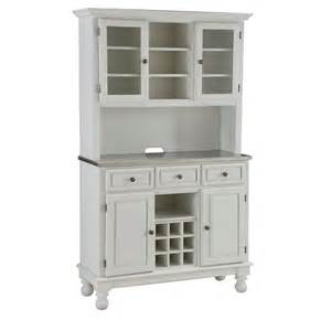 White Hutch Premium White Hutch Buffet With Stainless Top Overstock