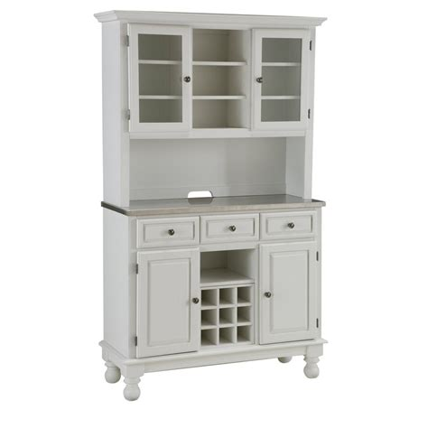 Premium White Hutch Buffet With Stainless Top Overstock Kitchen Buffet With Hutch