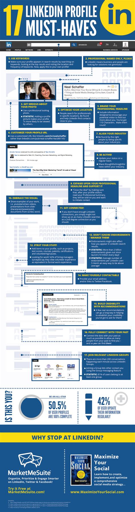 17 linkedin profile must haves infographic daily infographic