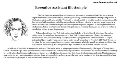 bio exles for executives executive assistant bio esle bio exles pinterest